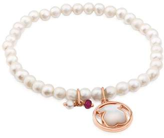 Tous Camille Cultured Freshwater Pearl Beaded Stretch Bracelet with Mother-of-Pearl Bear & Ruby Charms