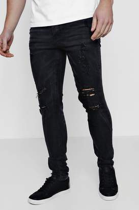 boohoo Super Skinny Jeans With Distressed Detailing
