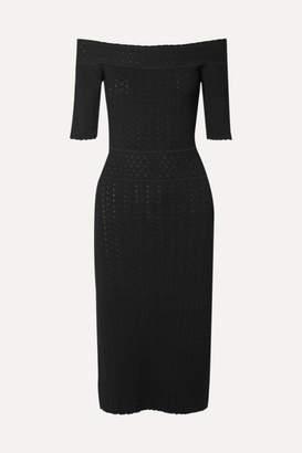 Altuzarra Stansfield Off-the-shoulder Pointelle-knit Dress - Black