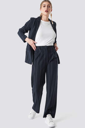 NA-KD Pinstriped Straight Suit Pants Dark Navy