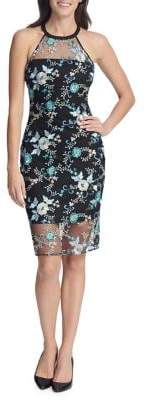 GUESS Floral Embroidered Bodycon Dress
