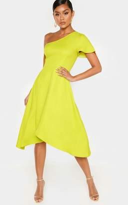 1b69d3792b3f7 PrettyLittleThing Lime Ruffle One Shoulder Midi Dress