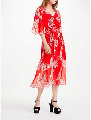 Somerset by Alice Temperley Palm Print V-Neck Dress, Coral
