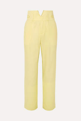 Fleur Du Mal Silk And Wool-blend Straight-leg Pants - Pastel yellow