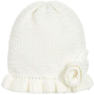 Mayoral Ivory Knit Ruffle Hat