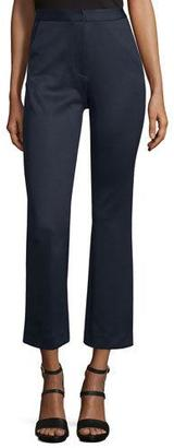 Self-Portrait High-Waist Flare-Leg Cropped Trouser, Navy $310 thestylecure.com