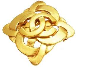 Chanel CC Logo Gold Tone Metal Rhombus Pin Brooch