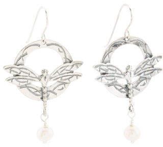 Made In Israel Sterling Silver Pearl Dragonfly Earrings
