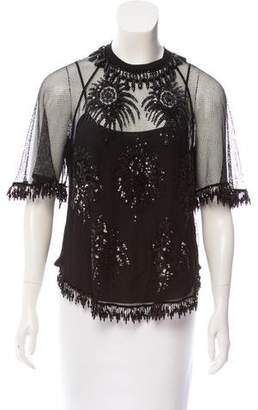 Louis Vuitton Mesh-Accented Embellished Top w/ Tags