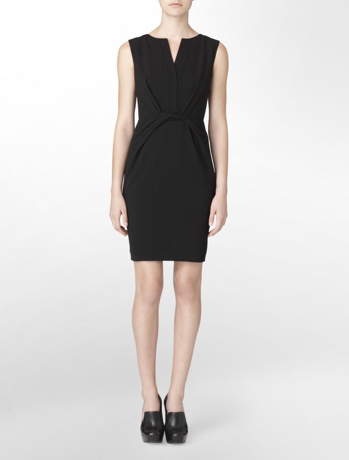 Calvin Klein Ruched Front V-Neck Shift Dress