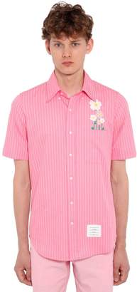 Thom Browne Short Sleeve Pinstriped Cotton Shirt