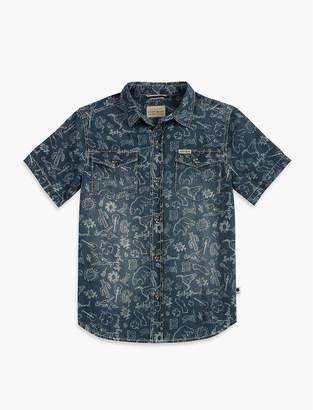 Lucky Brand Ikat Print Chambray Shirt