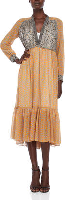 Sandro Ruby Printed Peasant Dress