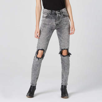 DSTLD Destructed High Waisted Mom Jeans in Acid Grey