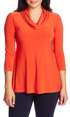 Chaus Zip Cuff Cowl Neck Knit Tunic