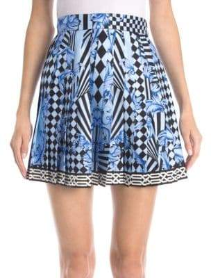 Versace Silk Twill-Pleated Mini Skirt
