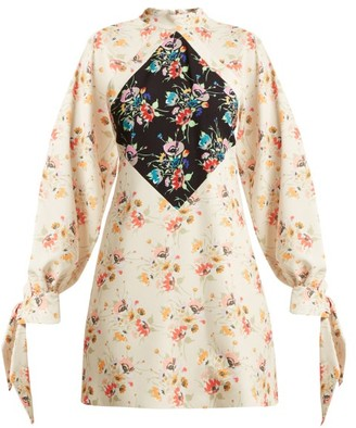 Christopher Kane Archive Floral Print Crepe Mini Dress - Womens - Beige Print