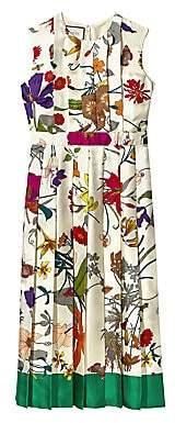 Gucci Women's Silk Twill Floral Pleated Midi Dress