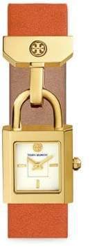 Tory Burch Surrey Goldtone Leather Strap Watch