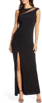 Adrianna Papell Mesh Inset Jersey Column Gown