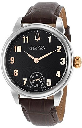 Accutron by Bulova 65 a102-sdメンズGemini Mechanical Brown Genuineレザーブラックダイヤル