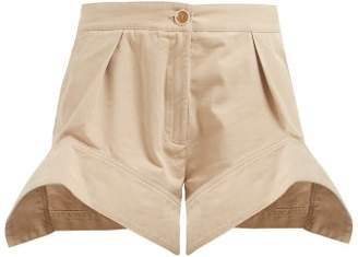 J.W.Anderson Curved Hem Cotton Chino Shorts - Womens - Beige