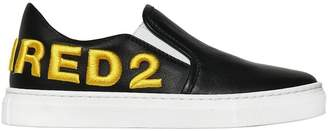DSQUARED2 Embroidered Leather Slip-On Sneakers