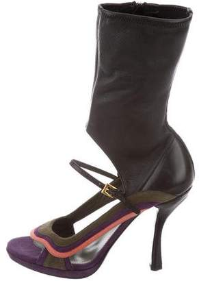 Prada Leather & Suede Ankle Boots