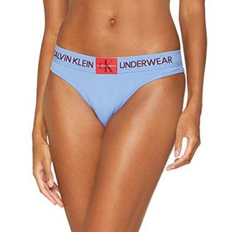 Calvin Klein Women's Thong String, (Periwinkle Blue Pwb), 8 (Size: X-Small)