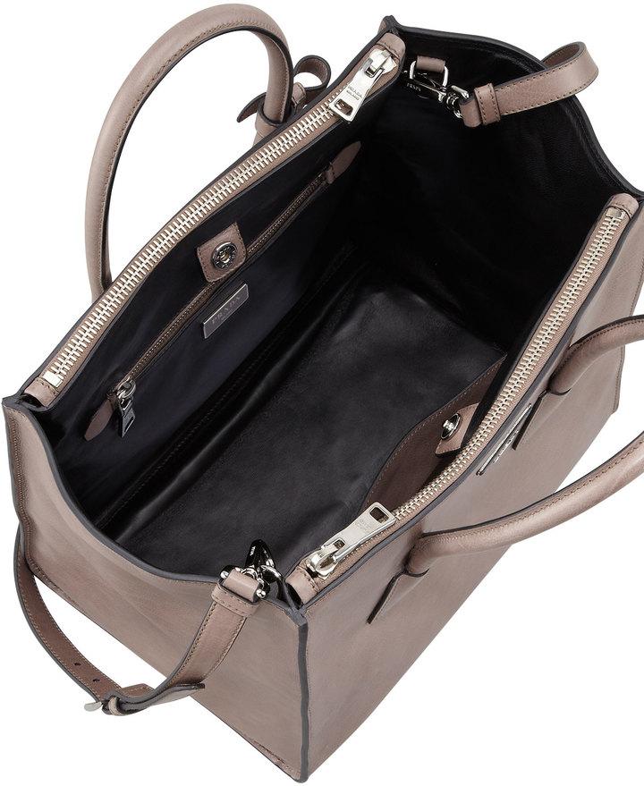 Prada Glace Calf Twin Pocket Tote Bag, Gray (Argilla)