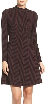 Ivanka Trump Herringbone Print Mock Neck Fit & Flare Dress $138 thestylecure.com