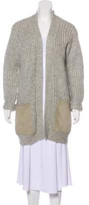 Edun Suede-Accented Wool Cardigan