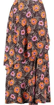 Marni Layered Printed Crepe Maxi Skirt