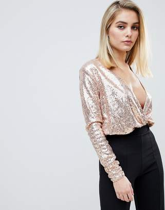 Club L sequin plunge wrap bodysuit