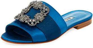 Manolo Blahnik Martamod Crystal-Buckle Slide Sandals