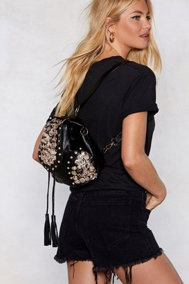 Nasty Gal WANT Button Another Level Embellished Backpack
