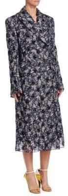 Calvin Klein Silk Floral Plaid Coat