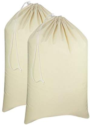 Laundry by Shelli Segal Cotton Craft - 2 Pack Extra Large 100% Cotton Canvas Heavy Duty Laundry Bags - Natural Cotton - 28x36 - Versatile - Multi Use