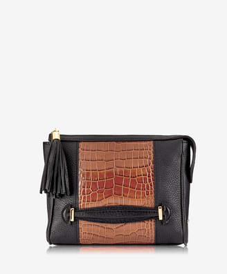 GiGi New York Dana Crossbody, Black Embossed Italian Croco