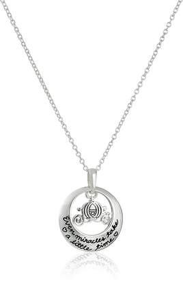 """Disney Sterling """"Every Miracle Takes A Little Time"""" Pendant Necklace, 18"""""""