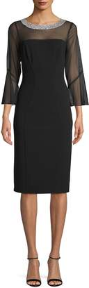 Alex Evenings Bell-Sleeve Embellished Neck Dress