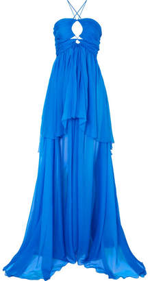 Dundas - Cutout Tiered Silk-chiffon Gown - Blue