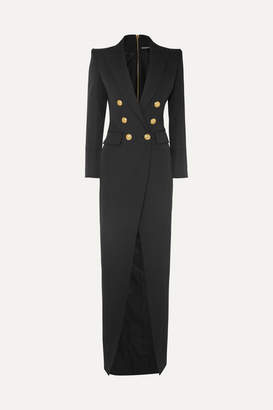 Balmain Button-embellished Wool-twill Gown - Black
