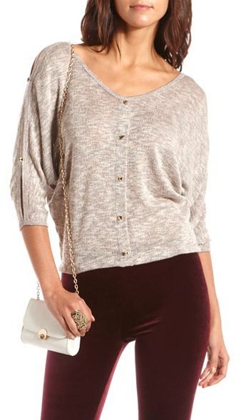 Charlotte Russe Pyramid Stud Cold Shoulder Hacci Top