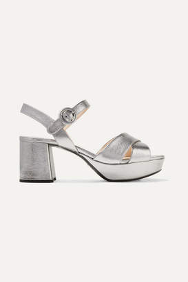 Prada Metallic Textured-leather Platform Sandals - Silver