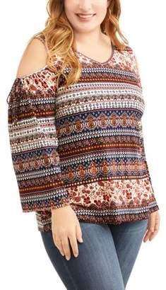 Como Blu Women's Plus Printed Lace Up Knit Top