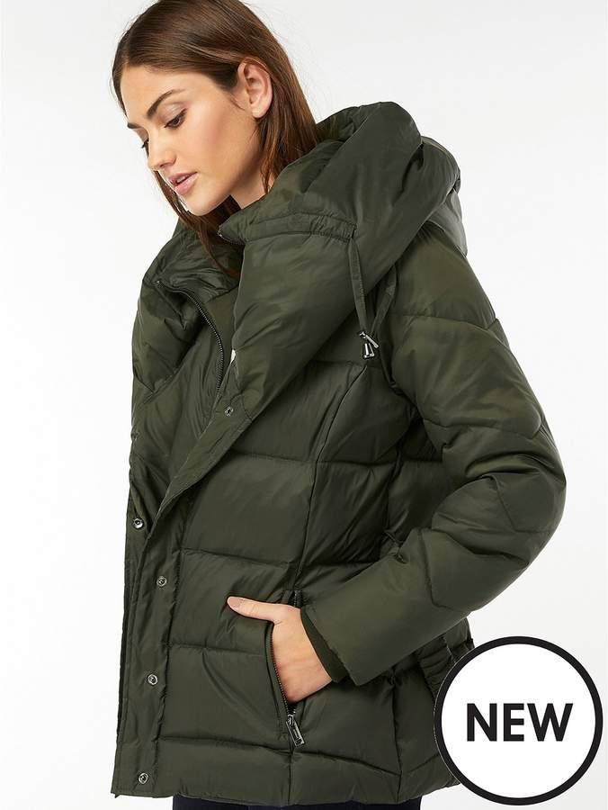 Laurel Belted Shawl Short Padded Coat - Dark Green