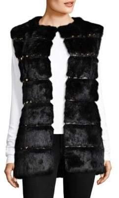 Glamour Puss Glamourpuss Studded Rabbit Fur Vest