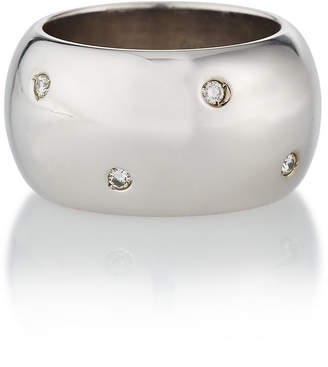 Estate Jewelry Estate 18K White Gold Dotted Wide Diamond Ring, Size 8