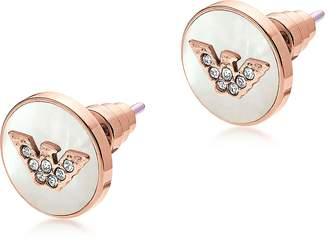 Emporio Armani Signature Rose Gold PVD Stainless Steel Earrings